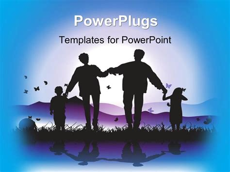 Powerpoint Template Happy Family Walks On Nature Sunset Family Powerpoint Templates