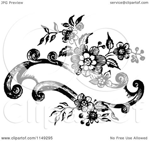 design banner retro clipart of a retro vintage black and white floral banner