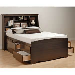 manhattan wood captain s bed w 55 75 quot bookcase