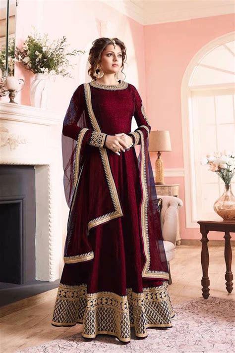 Anjani Maroon buy maroon dori embroidery vaidhi silk semi stitched salwar with dupatta