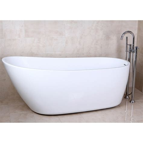 polished chrome freestanding collin tub filler with hand