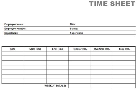 Printable Time Sheets | printable blank pdf time card time sheets