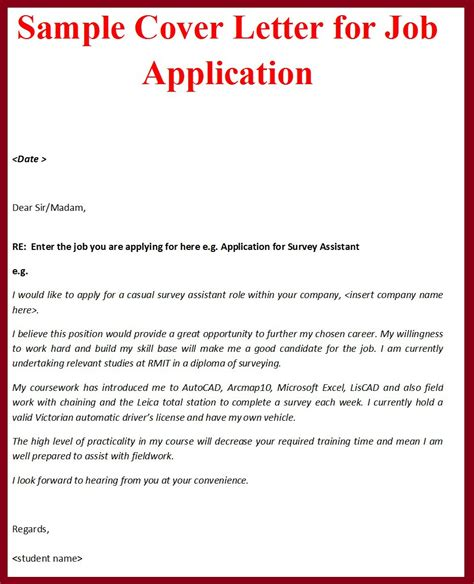 Cover Letter Application Template by Sle Of Cover Letter For Application For Employment Cover Letter Sle 2017