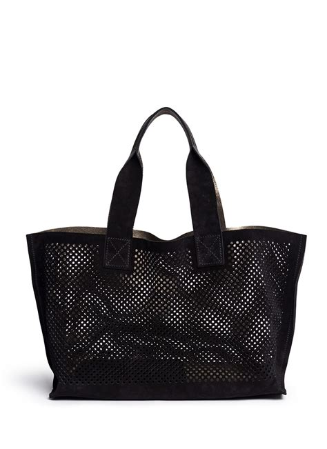 New Pedro Bag pedro garcia perfed perforated suede tote in black lyst