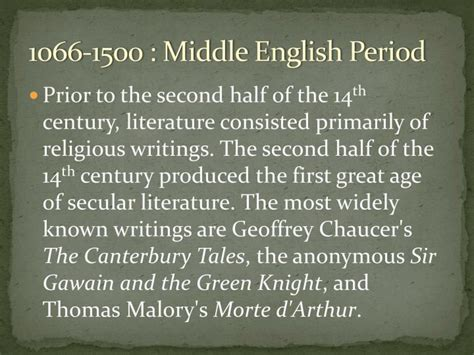 english literature the medieval period middle english ppt literary periods in british literature powerpoint