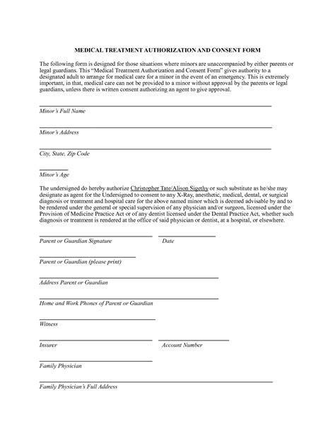 medical authorization form tomsplans parental consent
