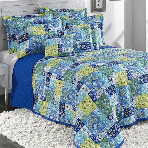 Blue Quilts And Comforters by Kendall Aqua Blue Quilted Bedspread Bedding