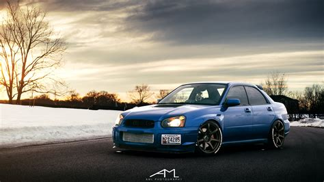 subaru wrx custom blue blue subaru wrx sti boasting custom exhaust system carid