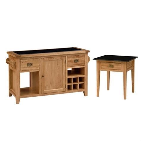 montague oak granite top kitchen island and side table set