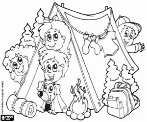 Family Camping At The Forest Coloring Page Printable Game sketch template