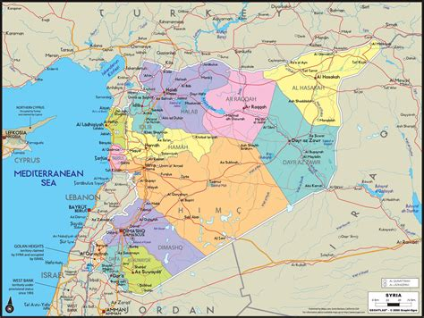 syria on map syria wall map maps
