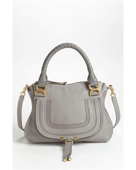grey leather satchel chlo 233 medium marcie leather satchel in gray grey gold hrdwre lyst