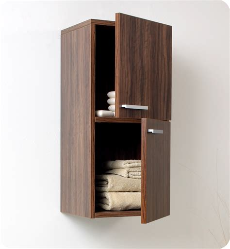 bathroom linen storage cabinets 12 5 quot fresca fst8091gw walnut bathroom linen side cabinet w 2 storage areas side