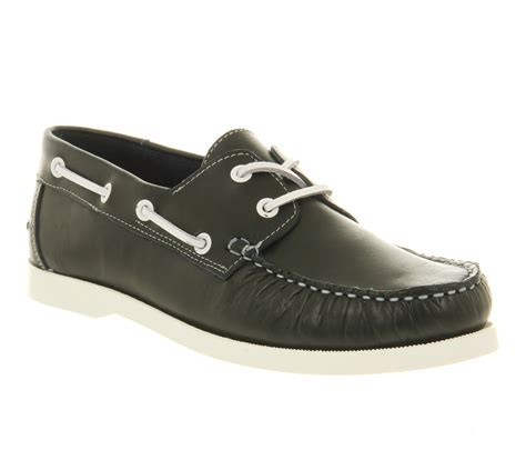mens office nautical boat shoe navy leather casual shoes