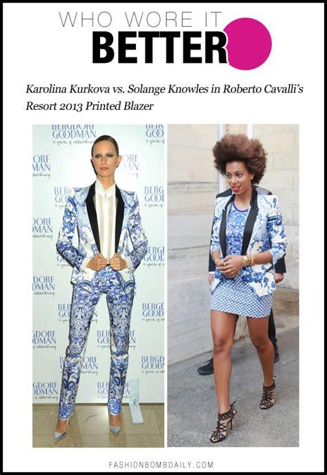 Who Wore Roberto Cavalli Better by Who Wore It Better Karolina Kurkova Vs Solange Knowles