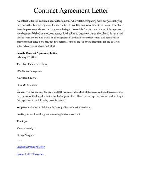 Letter Of Contract Agreement Exles 10 Best Images Of Letter Of Understanding And Agreement Sle Agreement Letter Between Two