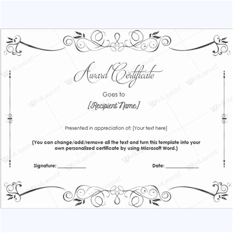 Award Certificate Templates Free Printable Documents Microsoft Word Award Certificate Template