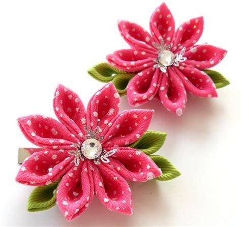 Ribbon Hairclip Jepitan Rambut Pita Grossgrain kanzashi fabric flowers set of 2 hair pink
