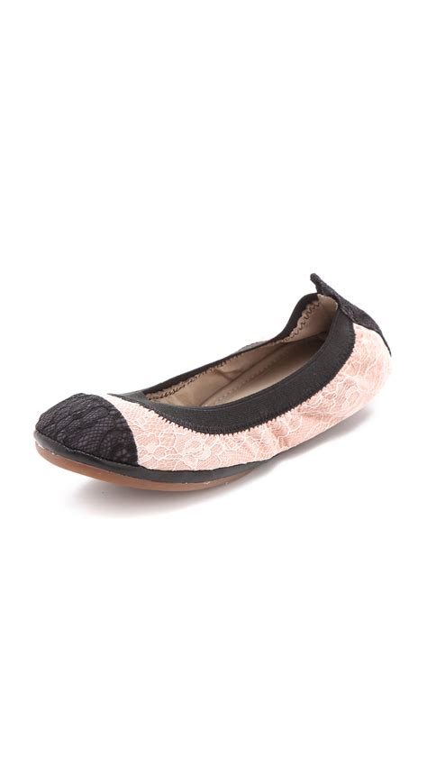 Ballet Flats 3 by Yosi Samra Lace Cap Toe Ballet Flats In Pink Beige Lyst