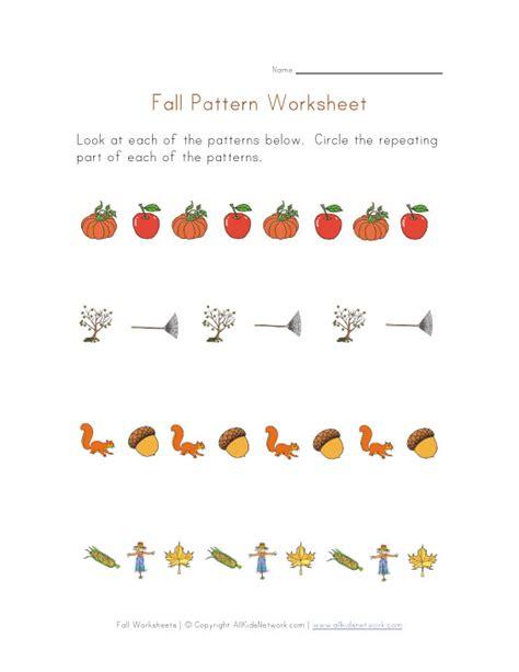 Fall Pattern Worksheets For Kindergarten | fall patterns worksheet