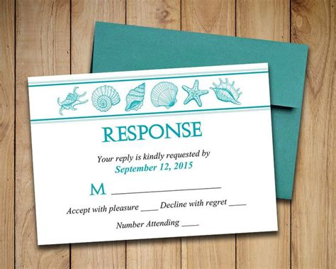 Beach Wedding Rsvp Template Seashell Response Card Quot Coastal Dreams Quot Ocean Printable Wedding Rsvp Invitation Template