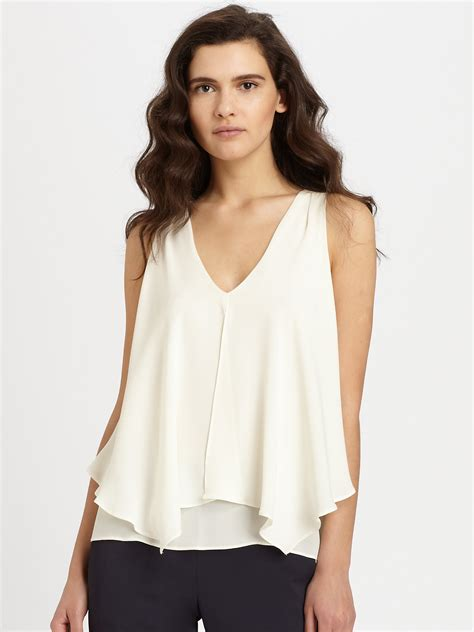 theory blouse theory jantine silk blouse in white lyst