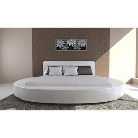 lit rond moderne 180x200 blanc promo pas cher