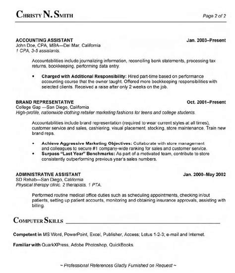 billing resume sle with administrative assistant experience and computer skills