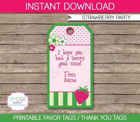 Favor Cards Template by Strawberry Shortcake Favor Tags Thank You Tags Birthday