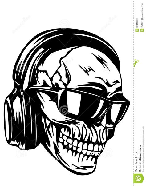 skull in headphones and sunglasses stock vector image