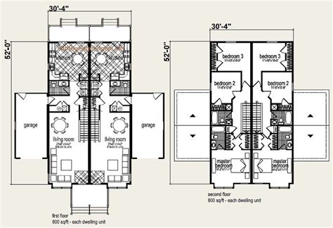 coolidge duplex floor plan and elevation 1 multi family