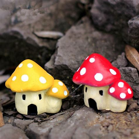 mushroom home decor micro landscape decorations resin mushroom house garden diy decor alex nld