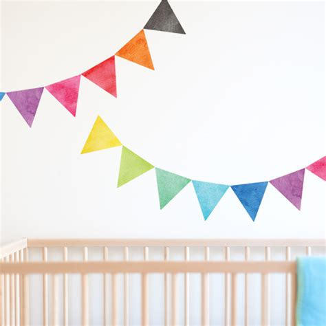 bunting wall stickers rainbow bunting nursery wall stickers