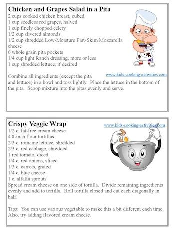 quick printable recipes free kids cooking printables