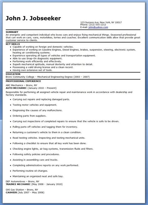Resume Exles Mechanic Auto Mechanic Resume Sle Free Career
