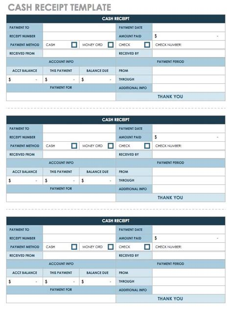 Receipt Template 3 Per Page by 12 Free Payment Templates Smartsheet