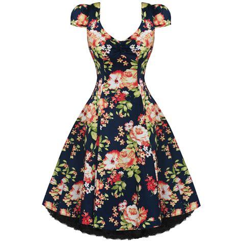 womens new vintage 1950s vtg navy blue floral