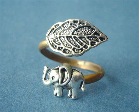 silver elephant ring with a leaf wrap ring adjustable