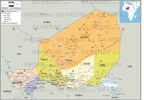 political map of niger niger physical map