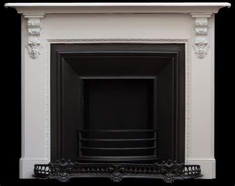 Cast iron fireplace with corbels