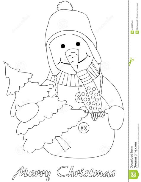 christmas tree and snowman coloring pages happy snowman with christmas tree stock vector image