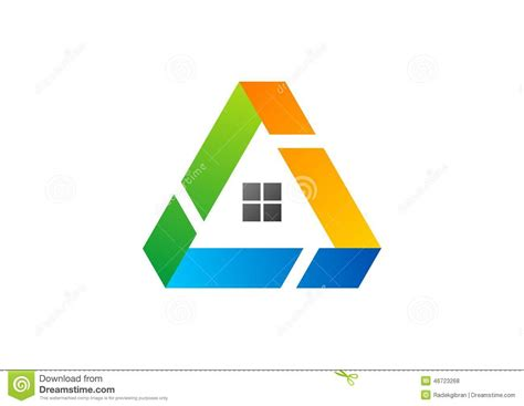 work from home logo design house triangle logo building architecture real estate home construction symbol icon design