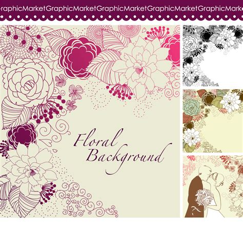 digital wedding invites template 4 floral template designs clipart and digital paper for