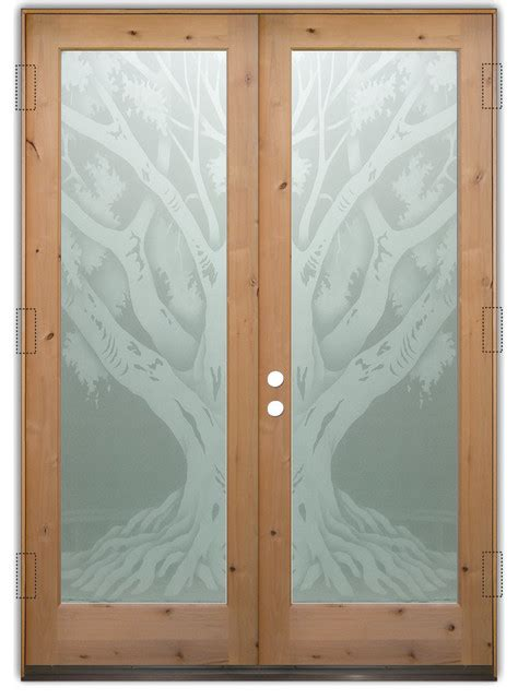 Glass Front Entry Doors Frosted Glass Obscure Oak Tree Frosted Window For Front Door