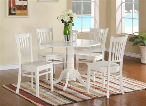 Where To Buy Kitchen Table Sets 5pc Dublin Dinette Set Pedestal Kitchen Table W 4 Wood Chairs Linen White Ebay