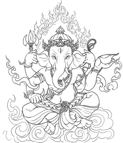 adult coloring page india ganesha 8