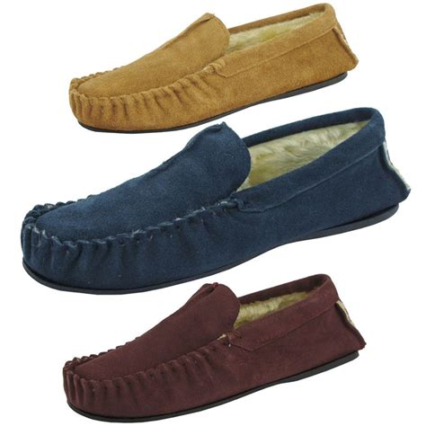 mens leather fur lined slippers mens dunlop moccasin slippers premium collection 039 romeo
