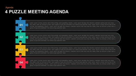 presentation agenda powerpoint and keynote template 4 puzzle meeting agenda powerpoint and keynote template