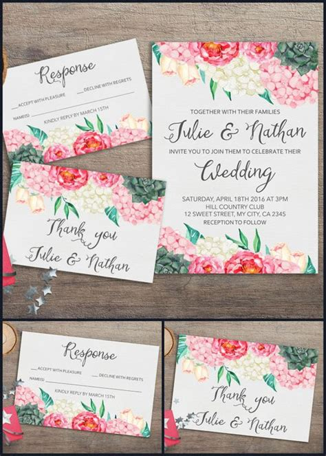 floral wedding invitation diy pink flowers and cactus succulent wedding invitations floral wedding and pink