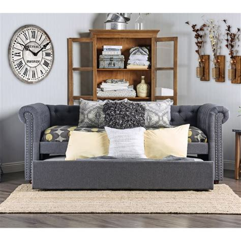 Tufted Daybed With Trundle Furniture Of America Hopper Tufted Daybed With Trundle In Gray Idf 1027gy